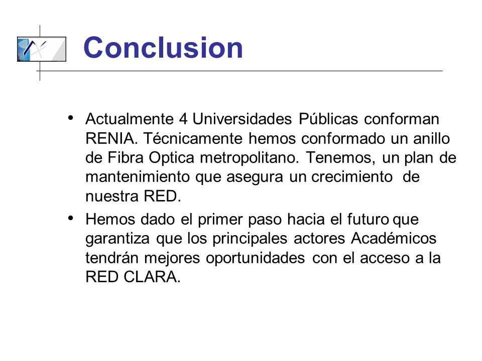 Conclusion Actualmente 4 Universidades Públicas conforman RENIA. Técnicamente hemos conformado un anillo de Fibra Optica metropolitano. Tenemos, un pl