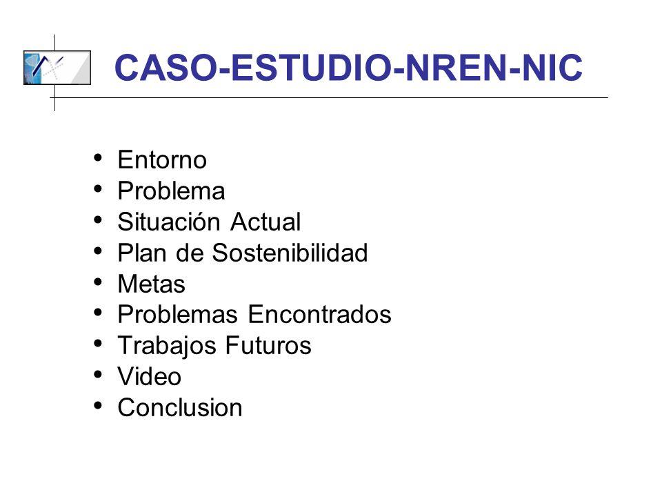 CASO-ESTUDIO-NREN-NIC Entorno Problema Situación Actual Plan de Sostenibilidad Metas Problemas Encontrados Trabajos Futuros Video Conclusion