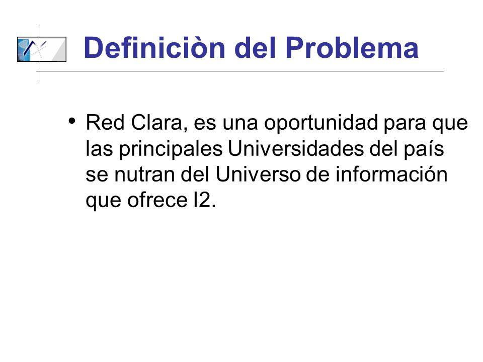 Definiciòn del Problema Red Clara, es una oportunidad para que las principales Universidades del país se nutran del Universo de información que ofrece