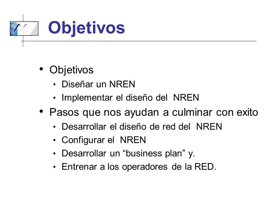 Objetivos Diseñar un NREN Implementar el diseño del NREN Pasos que nos ayudan a culminar con exito Desarrollar el diseño de red del NREN Configurar el