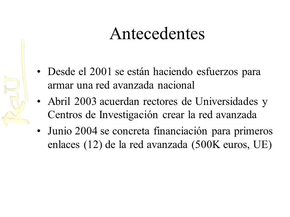 Antecedentes Desde el 2001 se están haciendo esfuerzos para armar una red avanzada nacional Abril 2003 acuerdan rectores de Universidades y Centros de Investigación crear la red avanzada Junio 2004 se concreta financiación para primeros enlaces (12) de la red avanzada (500K euros, UE)