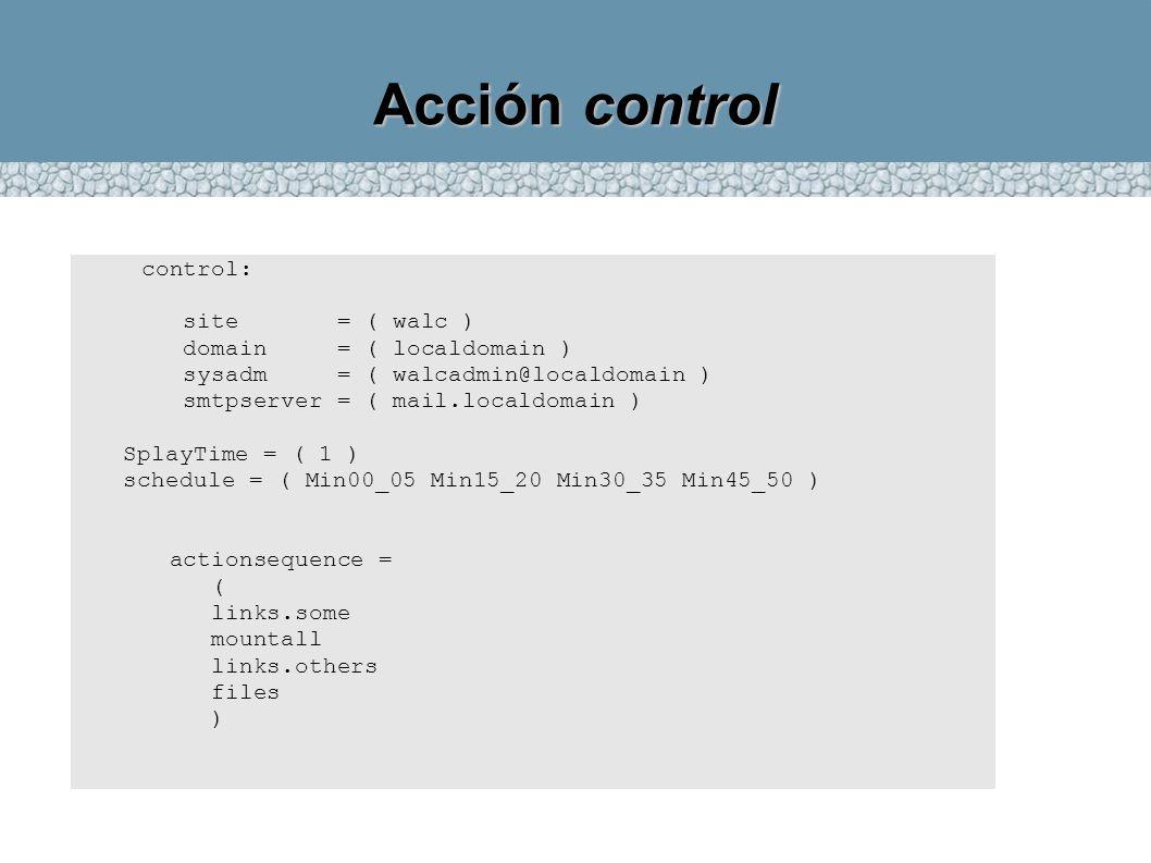 Acción control control: site = ( walc ) domain = ( localdomain ) sysadm = ( walcadmin@localdomain ) smtpserver = ( mail.localdomain ) SplayTime = ( 1