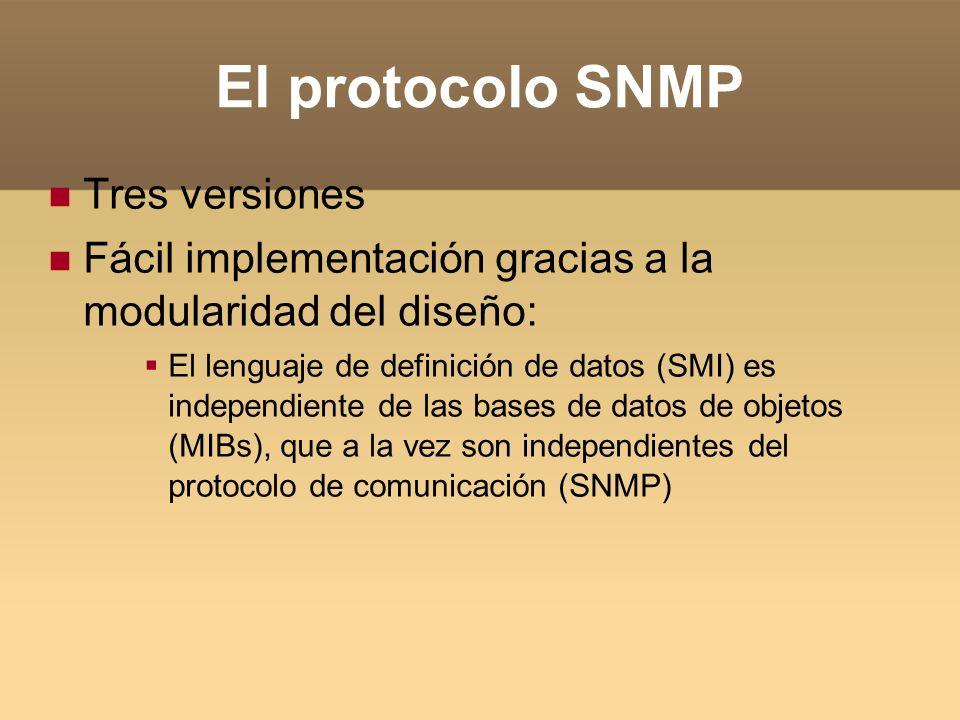 El protocolo SNMP Tres versiones Fácil implementación gracias a la modularidad del diseño: El lenguaje de definición de datos (SMI) es independiente d