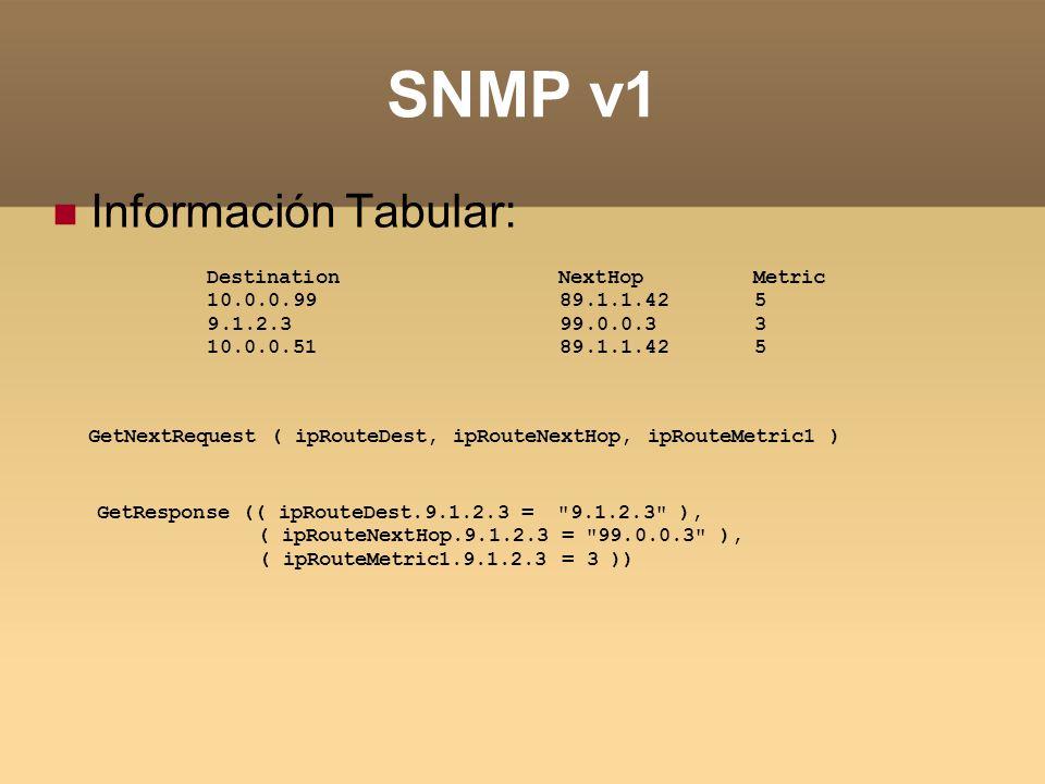 SNMP v1 Información Tabular: Destination NextHop Metric 10.0.0.99 89.1.1.42 5 9.1.2.3 99.0.0.3 3 10.0.0.51 89.1.1.42 5 GetNextRequest ( ipRouteDest, i