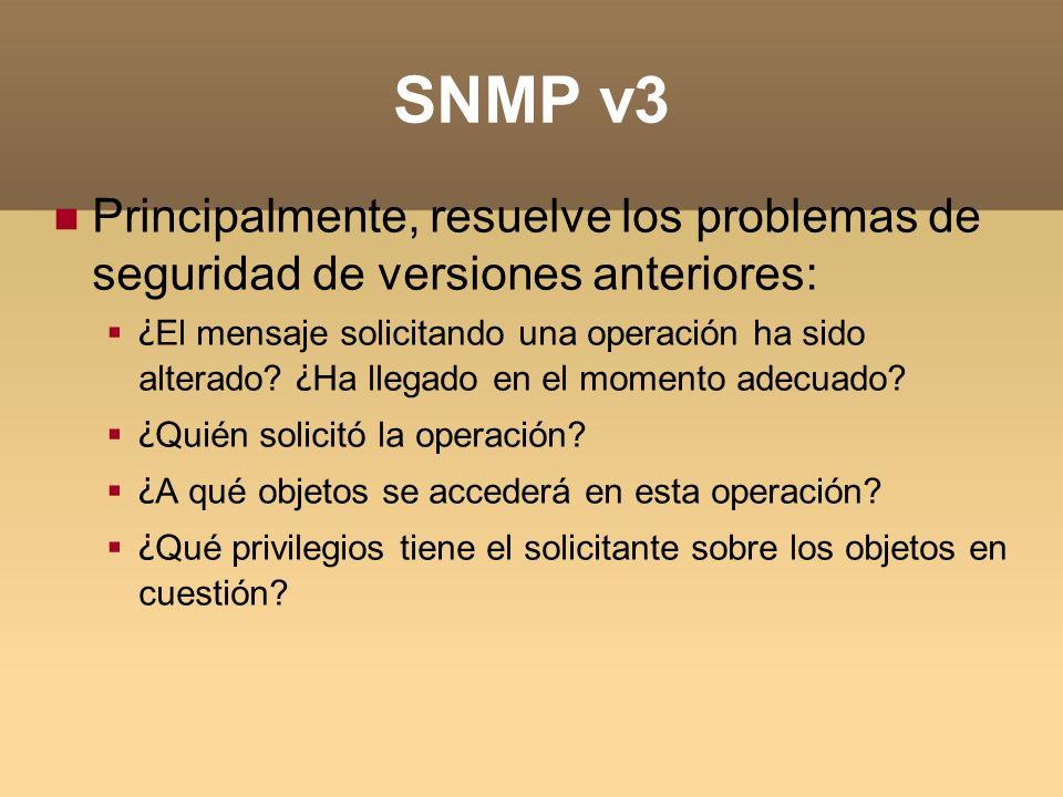 SNMP v3 Principalmente, resuelve los problemas de seguridad de versiones anteriores: ¿ El mensaje solicitando una operación ha sido alterado? ¿ Ha lle