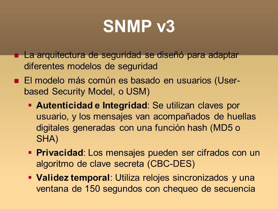 SNMP v3 La arquitectura de seguridad se diseñó para adaptar diferentes modelos de seguridad El modelo más común es basado en usuarios (User- based Sec