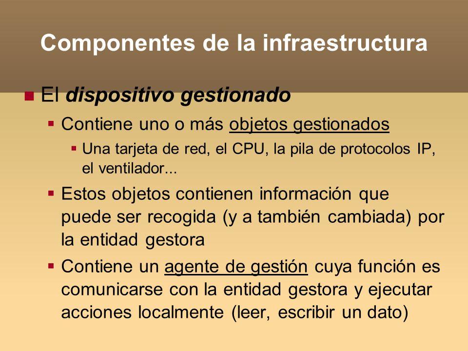 Componentes de la infraestructura El protocolo de gestión Provee las reglas de comunicación entre la entidad gestora y los agentes de gestión Define cosas como: Tipos de mensajes y operaciones Seguridad (autenticación, privacidad) Manejo de secuencias