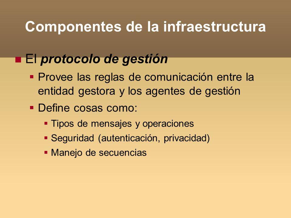 Componentes de la infraestructura El protocolo de gestión Provee las reglas de comunicación entre la entidad gestora y los agentes de gestión Define c