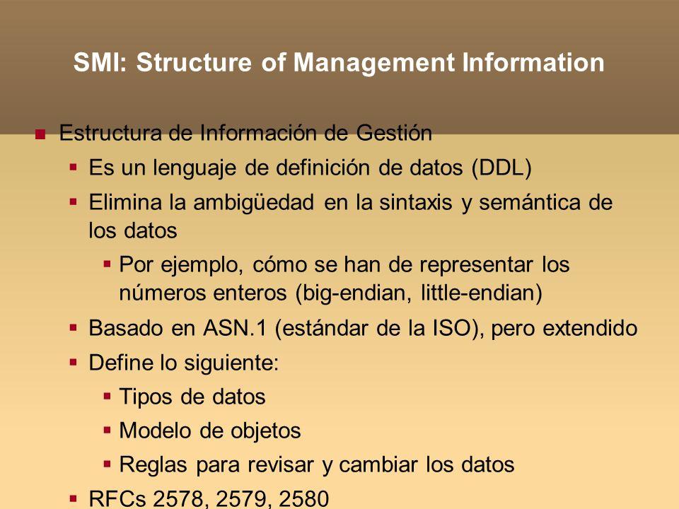 SMI: Structure of Management Information Estructura de Información de Gestión Es un lenguaje de definición de datos (DDL) Elimina la ambigüedad en la