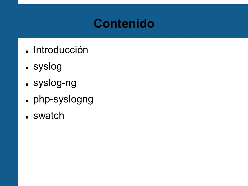 Destinos en syslog-ng Determinan dónde se van a enviar los mensajes Los mismos métodos que en la fuente + usertty destination allbyhostfile { file( /log/hosts/$HOST/$FACILITY.$PRIORITY owner(root) group(root) perm(0644) dir_perm(0755) create_dirs(yes)); }; destination ciscofile { file( /log/cisco owner(root) group(root) perm(0644) dir_perm(0755) create_dirs(yes)); }; destination allbyhostfile { file( /log/hosts/$HOST/$FACILITY.$PRIORITY owner(root) group(root) perm(0644) dir_perm(0755) create_dirs(yes)); }; destination ciscofile { file( /log/cisco owner(root) group(root) perm(0644) dir_perm(0755) create_dirs(yes)); };