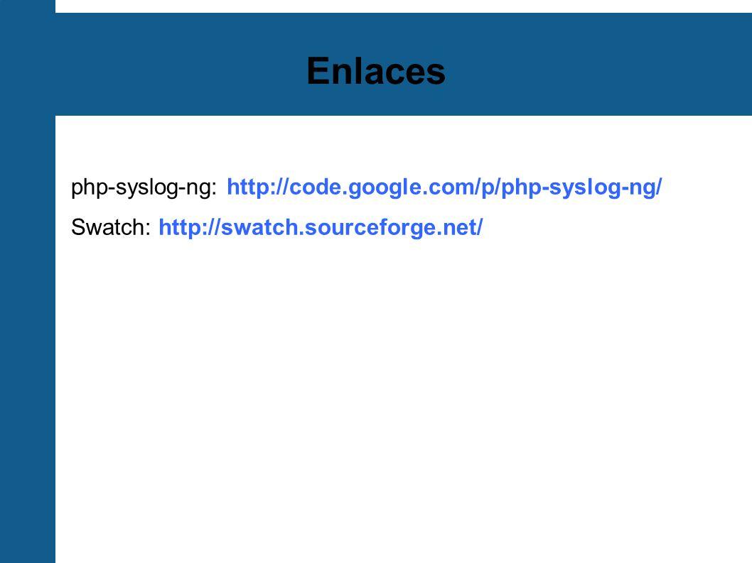 Enlaces php-syslog-ng: http://code.google.com/p/php-syslog-ng/ Swatch: http://swatch.sourceforge.net/