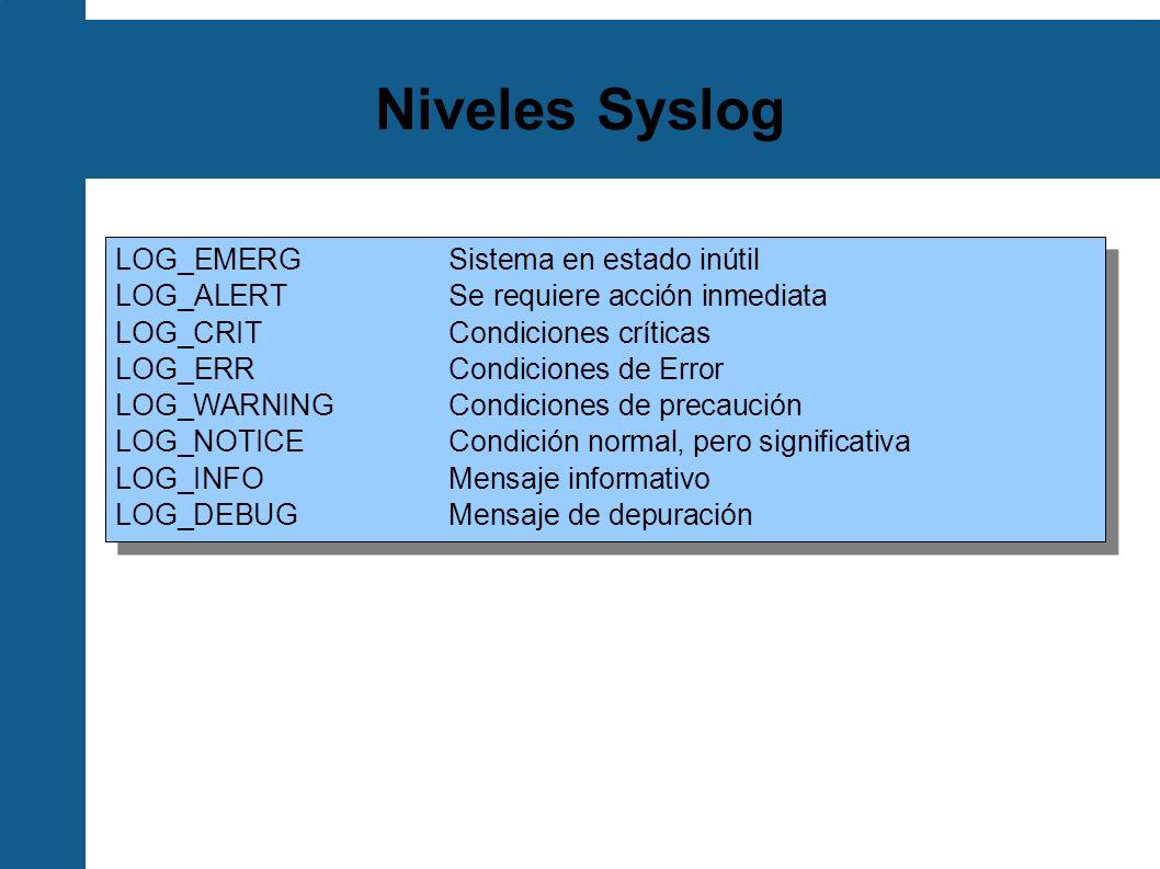 Niveles Syslog LOG_EMERGSistema en estado inútil LOG_ALERTSe requiere acción inmediata LOG_CRITCondiciones críticas LOG_ERRCondiciones de Error LOG_WA