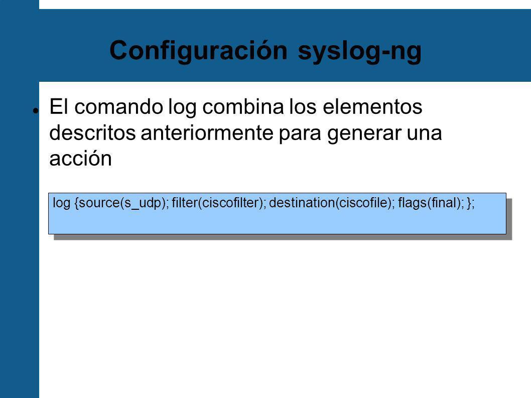 MySQL y php-syslog-ng Una herramienta muy útil para un servidor central de syslog-ng Inserta cada mensaje en una simple tabla MySQL Permite hacer búsquedas basadas en diversos criterios Nodo de origen Rango de tiempo Prioridad Interfaz web