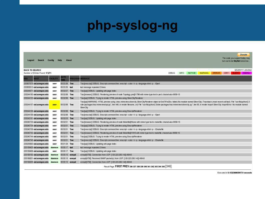 tenshi Monitor de archivos de log simple y flexible Los mensajes son clasificados en colas, utilizando expresiones regulares Cada cola puede configurarse con e-mail de destino y horario de notificación