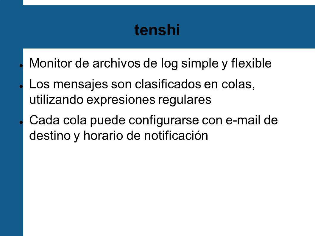 configuración de tenshi set uid tenshi set gid tenshi set logfile /log/dhcp set sleep 5 set limit 800 set pager_limit 2 set mask ___ set mailserver localhost set subject tenshi report set hidepid on set queue dhcpd tenshi@localhost sysadmin@noc.localdomain [*/10 * * * *] group ^dhcpd: dhcpd ^dhcpd:.+no free leases dhcpd ^dhcpd:.+wrong network group_end set uid tenshi set gid tenshi set logfile /log/dhcp set sleep 5 set limit 800 set pager_limit 2 set mask ___ set mailserver localhost set subject tenshi report set hidepid on set queue dhcpd tenshi@localhost sysadmin@noc.localdomain [*/10 * * * *] group ^dhcpd: dhcpd ^dhcpd:.+no free leases dhcpd ^dhcpd:.+wrong network group_end