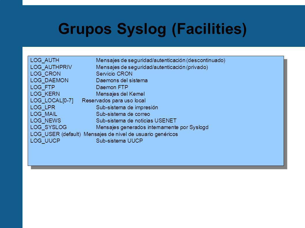 Configuración de cliente syslog /etc/syslog.conf.