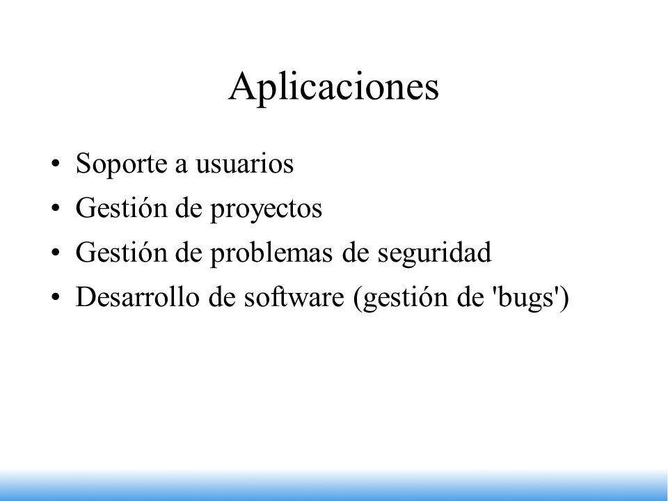Aplicaciones Soporte a usuarios Gestión de proyectos Gestión de problemas de seguridad Desarrollo de software (gestión de 'bugs')