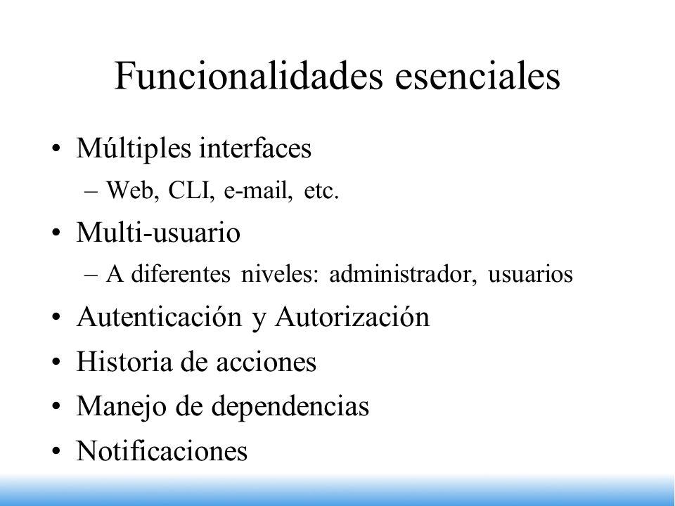 Funcionalidades esenciales Múltiples interfaces –Web, CLI, e-mail, etc. Multi-usuario –A diferentes niveles: administrador, usuarios Autenticación y A