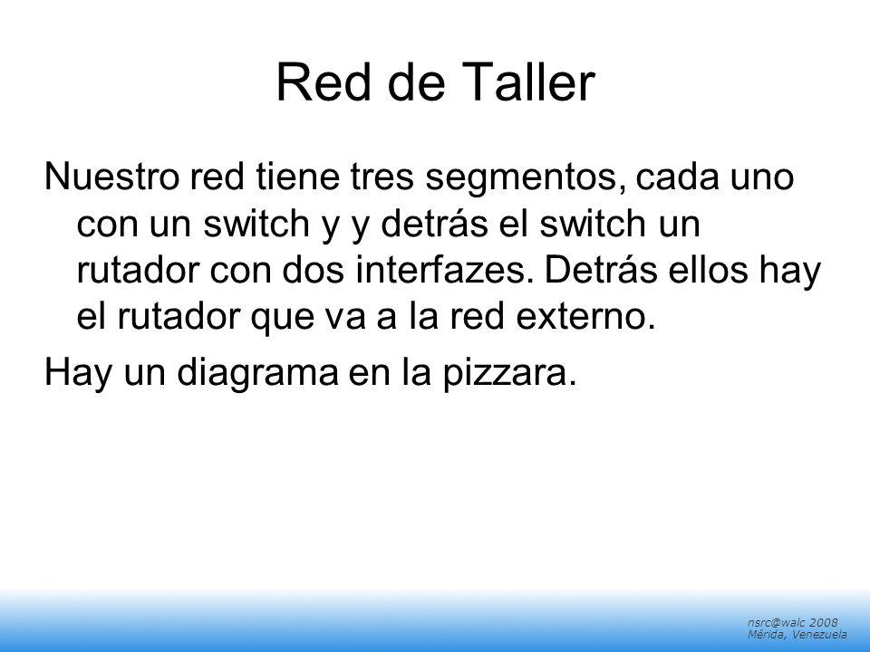 nsrc@walc 2008 Mérida, Venezuela Red de Taller Nuestro red tiene tres segmentos, cada uno con un switch y y detrás el switch un rutador con dos interf