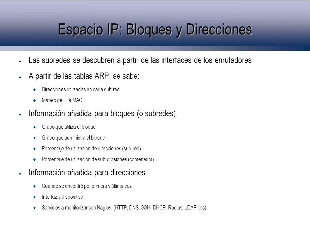 Espacio IP: Bloques y Direcciones Las subredes se descubren a partir de las interfaces de los enrutadores A partir de las tablas ARP, se sabe: Direcci