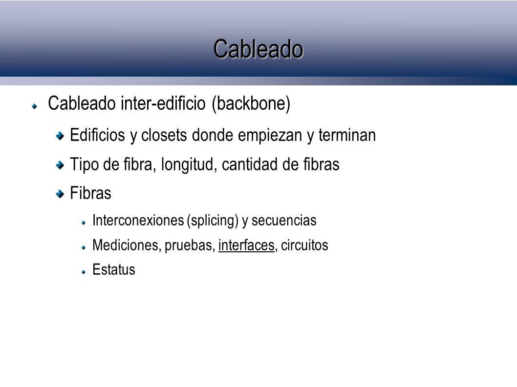 Cableado Cableado inter-edificio (backbone) Edificios y closets donde empiezan y terminan Tipo de fibra, longitud, cantidad de fibras Fibras Intercone