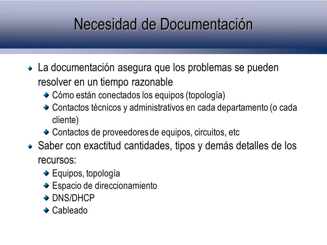 Necesidad de Documentación La documentación asegura que los problemas se pueden resolver en un tiempo razonable Cómo están conectados los equipos (top