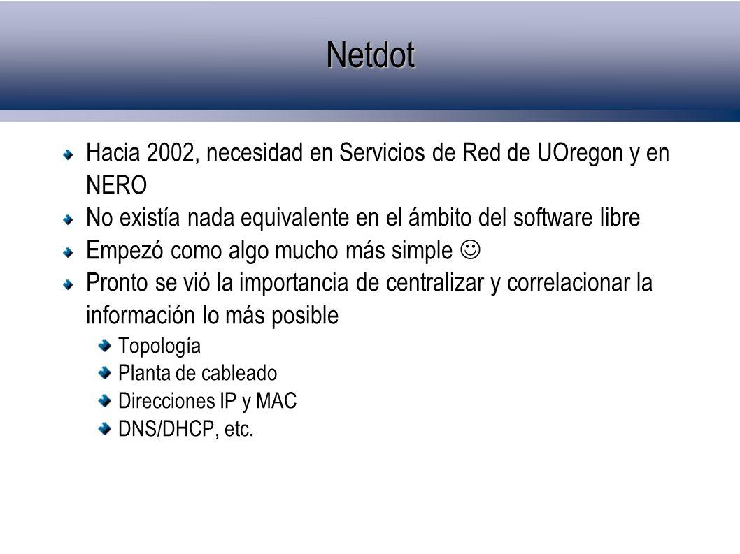 Netdot Hacia 2002, necesidad en Servicios de Red de UOregon y en NERO No existía nada equivalente en el ámbito del software libre Empezó como algo muc