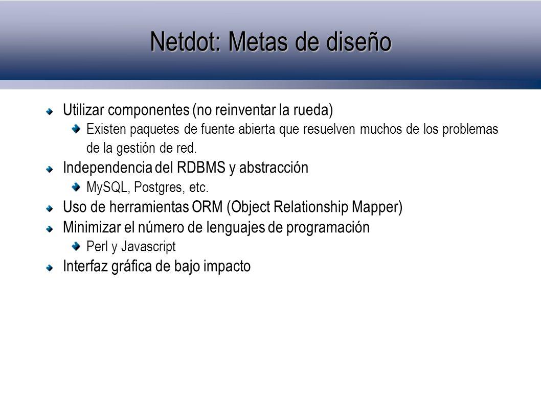 Netdot: Metas de diseño Utilizar componentes (no reinventar la rueda) Existen paquetes de fuente abierta que resuelven muchos de los problemas de la g