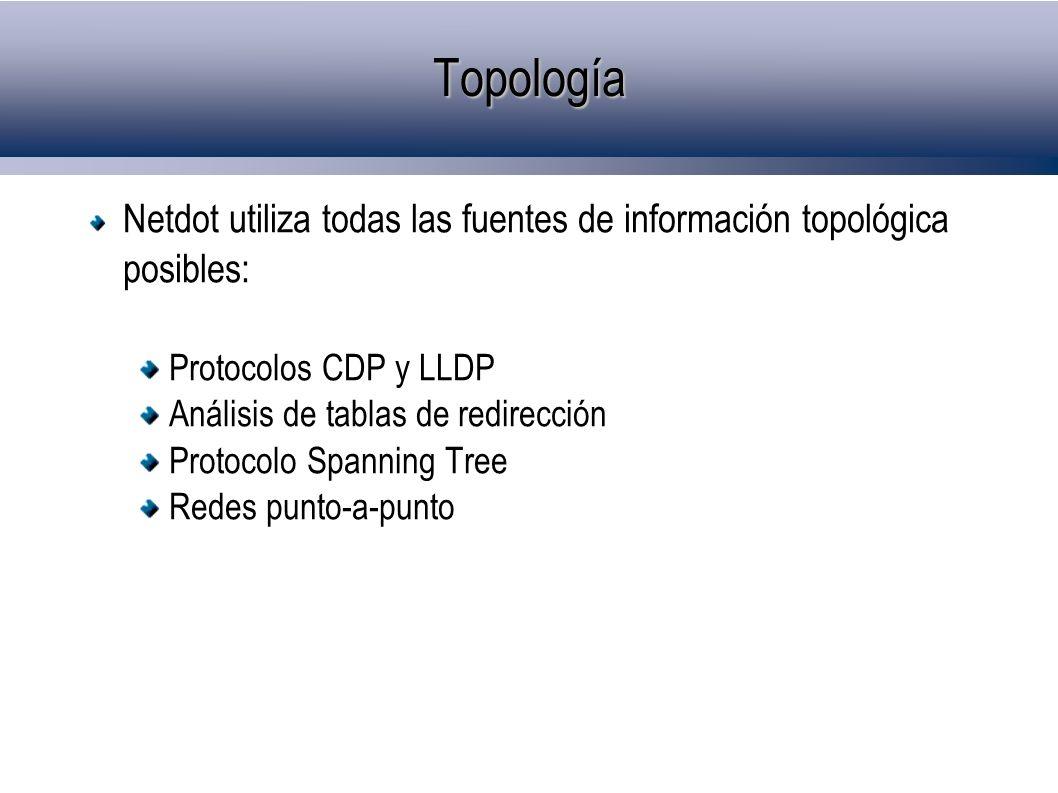 Topología Netdot utiliza todas las fuentes de información topológica posibles: Protocolos CDP y LLDP Análisis de tablas de redirección Protocolo Spann