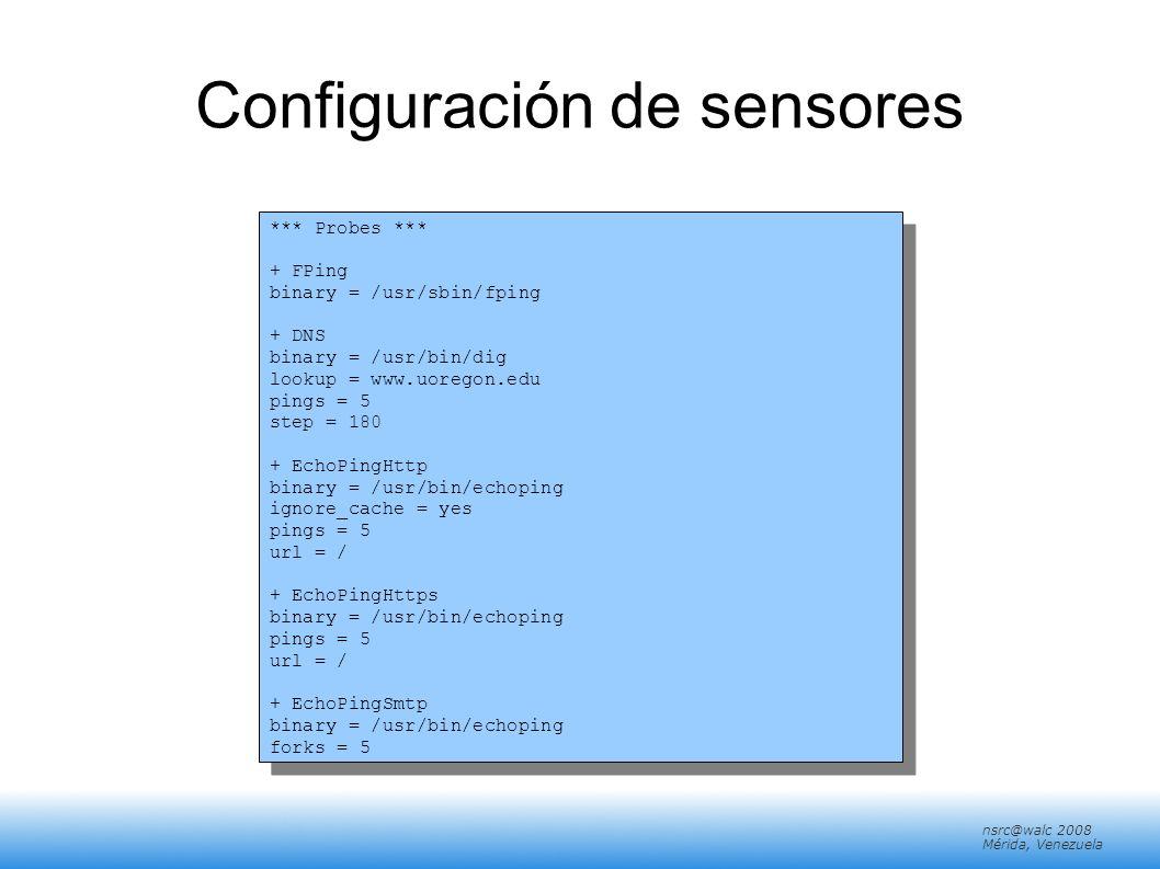 nsrc@walc 2008 Mérida, Venezuela Configuración de sensores *** Probes *** + FPing binary = /usr/sbin/fping + DNS binary = /usr/bin/dig lookup = www.uo