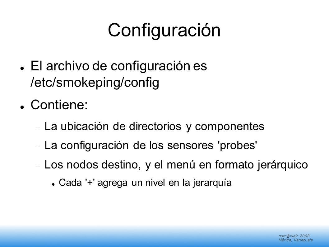 nsrc@walc 2008 Mérida, Venezuela Configuración El archivo de configuración es /etc/smokeping/config Contiene: La ubicación de directorios y componente