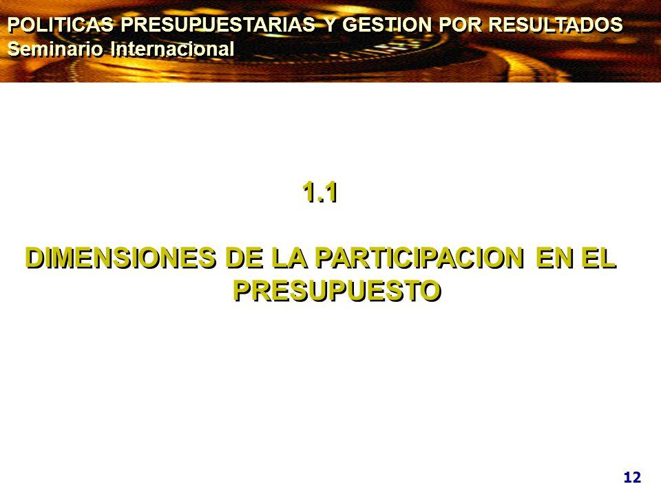 1.1 DIMENSIONES DE LA PARTICIPACION EN EL PRESUPUESTO 1.1 DIMENSIONES DE LA PARTICIPACION EN EL PRESUPUESTO 12 POLITICAS PRESUPUESTARIAS Y GESTION POR