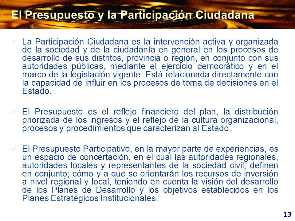 La Participación Ciudadana es la intervención activa y organizada de la sociedad y de la ciudadanía en general en los procesos de desarrollo de sus di