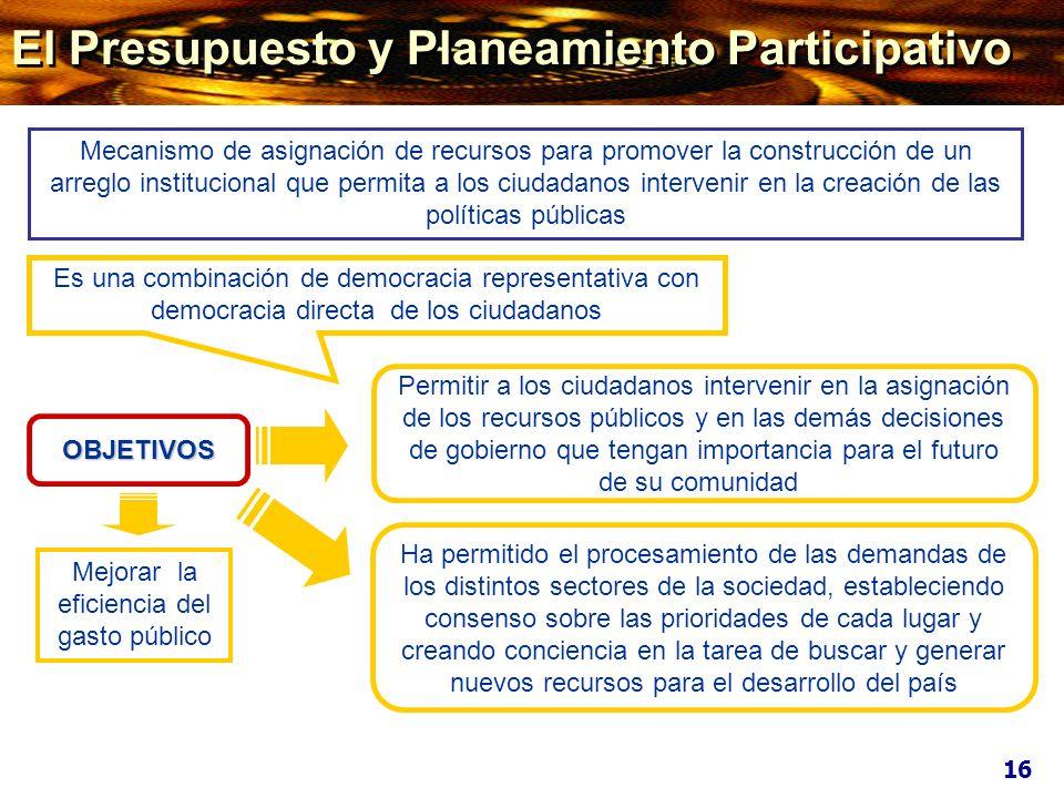 OBJETIVOS Permitir a los ciudadanos intervenir en la asignación de los recursos públicos y en las demás decisiones de gobierno que tengan importancia