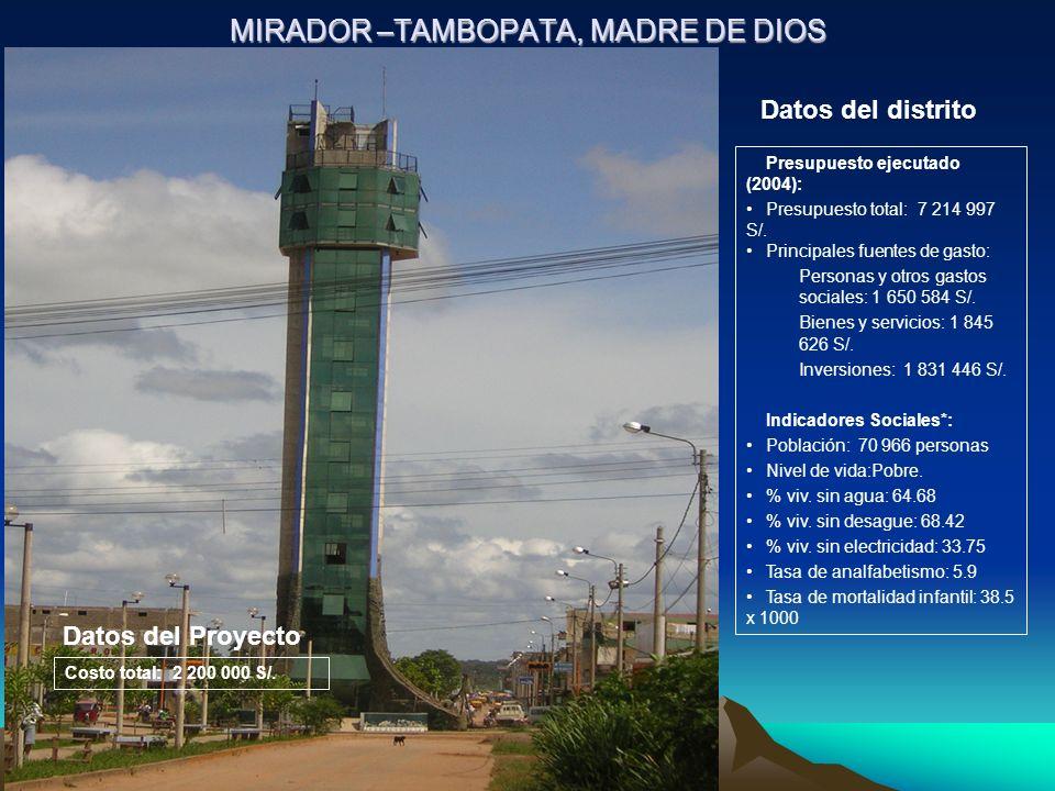 MIRADOR –TAMBOPATA, MADRE DE DIOS Presupuesto ejecutado (2004): Presupuesto total: 7 214 997 S/. Principales fuentes de gasto: Personas y otros gastos