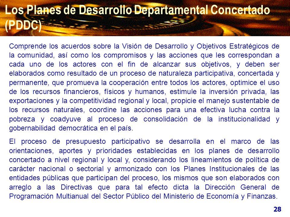 Los Planes de Desarrollo Departamental Concertado (PDDC) Comprende los acuerdos sobre la Visión de Desarrollo y Objetivos Estratégicos de la comunidad