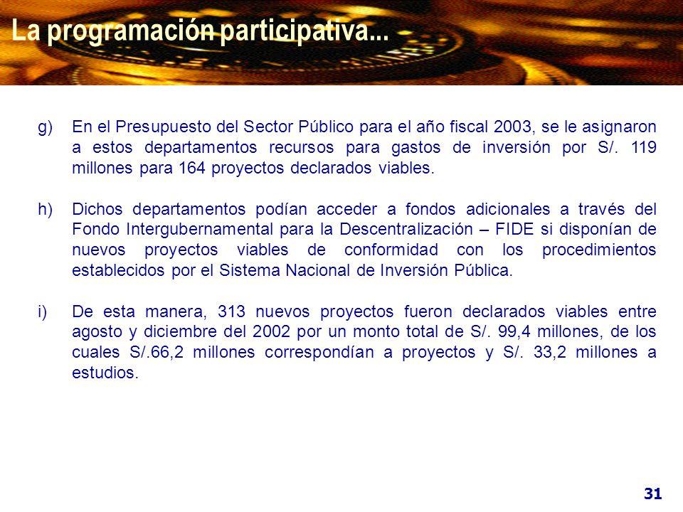 La programación participativa... g)En el Presupuesto del Sector Público para el año fiscal 2003, se le asignaron a estos departamentos recursos para g