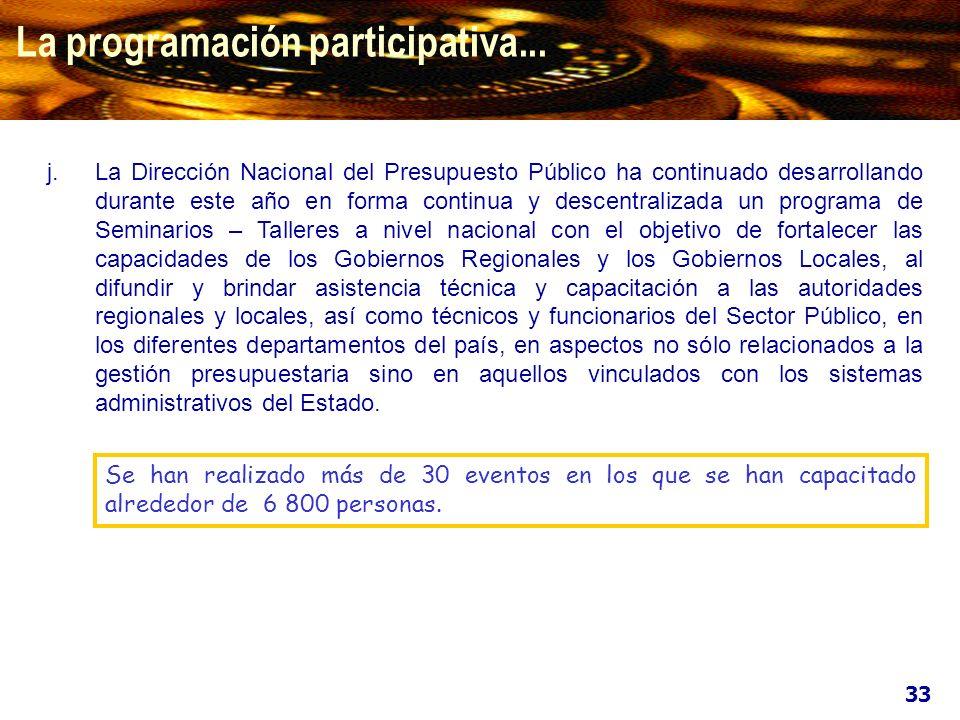 La programación participativa... j.La Dirección Nacional del Presupuesto Público ha continuado desarrollando durante este año en forma continua y desc