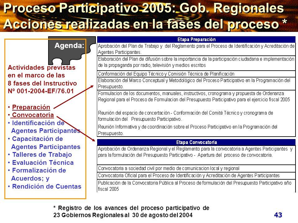* Registro de los avances del proceso participativo de 23 Gobiernos Regionales al 30 de agosto del 2004 Sociedad Civil Agenda: Actividades previstas e