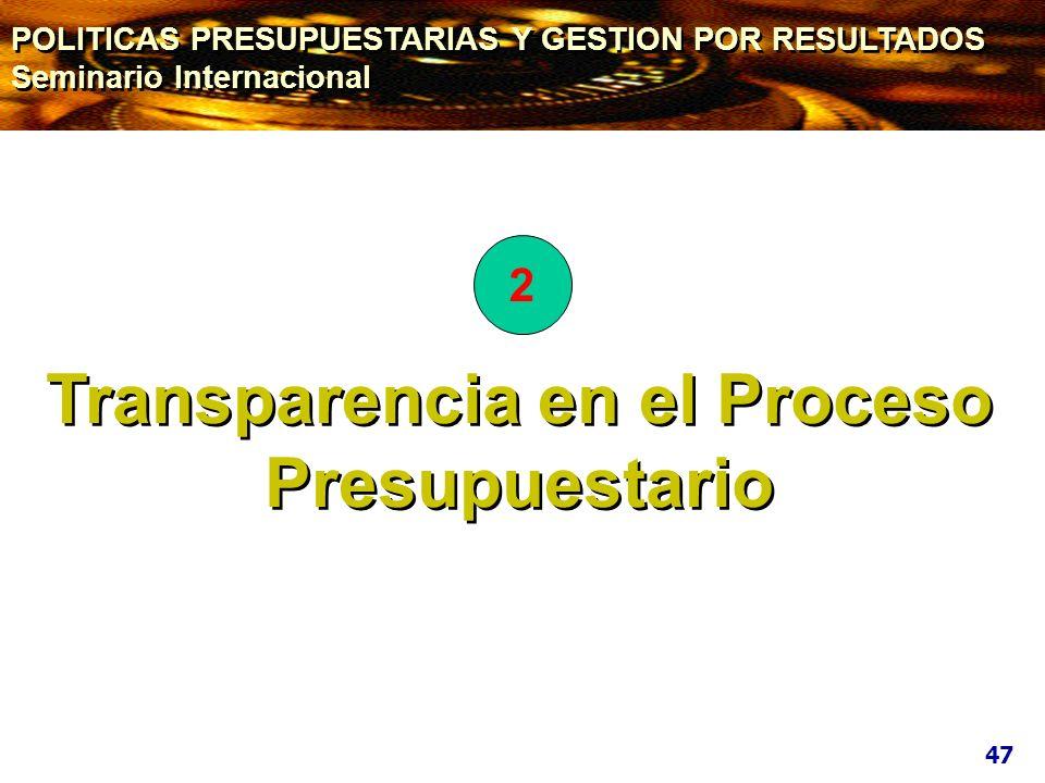 Transparencia en el Proceso Presupuestario 47 2 POLITICAS PRESUPUESTARIAS Y GESTION POR RESULTADOS Seminario Internacional POLITICAS PRESUPUESTARIAS Y