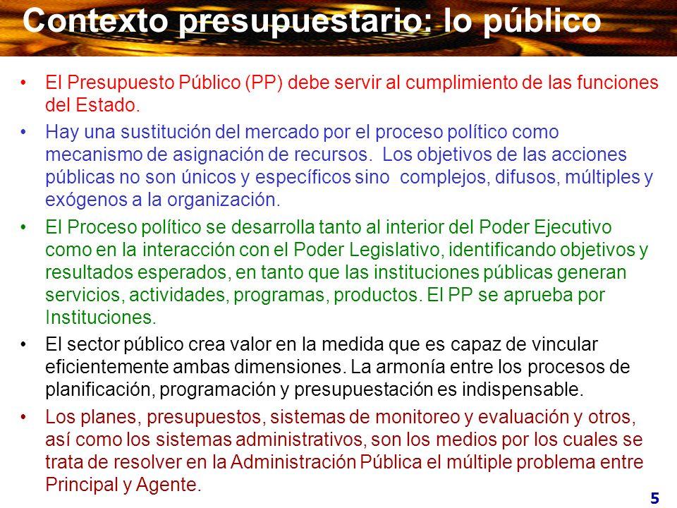 5 Contexto presupuestario: lo público El Presupuesto Público (PP) debe servir al cumplimiento de las funciones del Estado. Hay una sustitución del mer