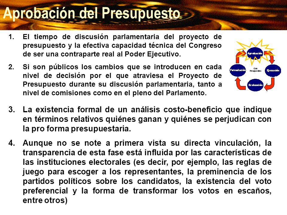 1.El tiempo de discusión parlamentaria del proyecto de presupuesto y la efectiva capacidad técnica del Congreso de ser una contraparte real al Poder E