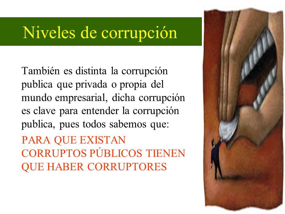 También es distinta la corrupción publica que privada o propia del mundo empresarial, dicha corrupción es clave para entender la corrupción publica, p