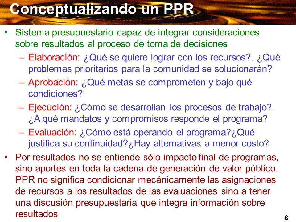 8 Conceptualizando un PPR Sistema presupuestario capaz de integrar consideraciones sobre resultados al proceso de toma de decisiones –Elaboración: ¿Qu