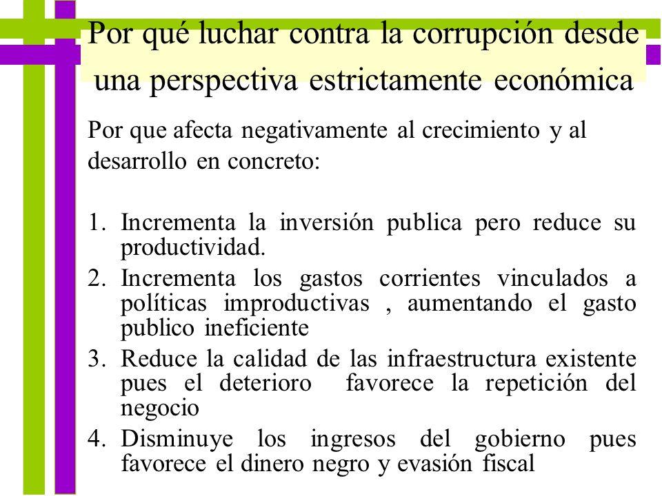 Por qué luchar contra la corrupción desde una perspectiva estrictamente económica Por que afecta negativamente al crecimiento y al desarrollo en concr