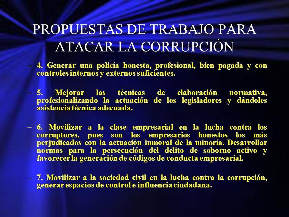 PROPUESTAS DE TRABAJO PARA ATACAR LA CORRUPCIÓN –4. Generar una policía honesta, profesional, bien pagada y con controles internos y externos suficien