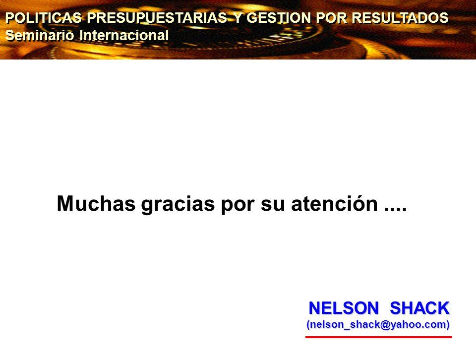 Muchas gracias por su atención.... NELSON SHACK (nelson_shack@yahoo.com) POLITICAS PRESUPUESTARIAS Y GESTION POR RESULTADOS Seminario Internacional PO