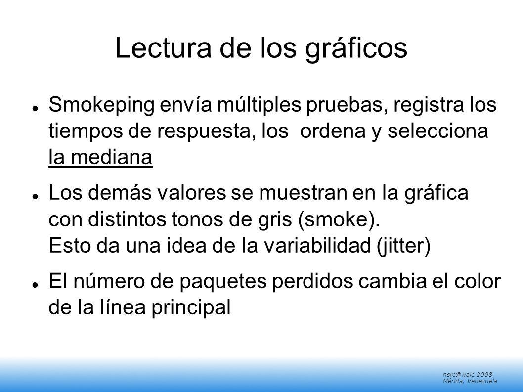 nsrc@walc 2008 Mérida, Venezuela Pistas/Tips: Multihosts Multihosts es la opcion de ver todo los resultados por un grupo de pruebas (probes) en un solo grafico.