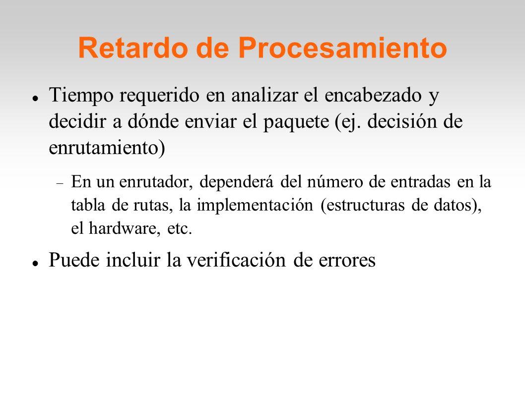 Retardo de Procesamiento Tiempo requerido en analizar el encabezado y decidir a dónde enviar el paquete (ej. decisión de enrutamiento) En un enrutador
