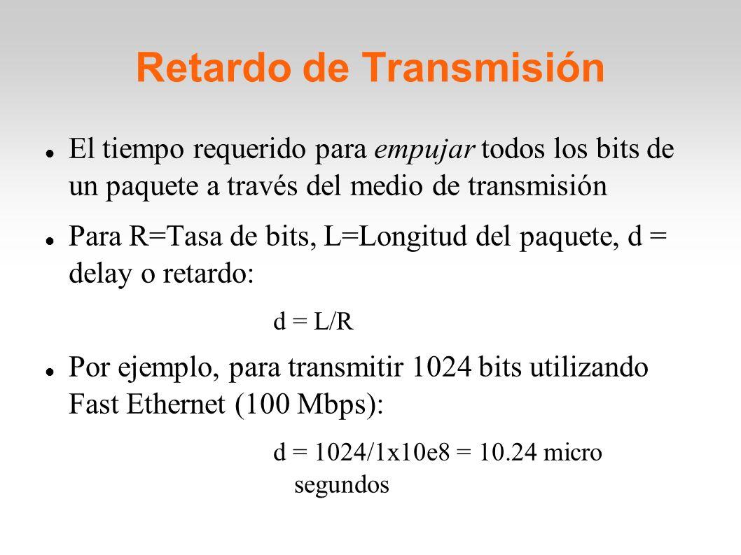 Retardo de Transmisión El tiempo requerido para empujar todos los bits de un paquete a través del medio de transmisión Para R=Tasa de bits, L=Longitud